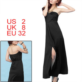 Bronze Tone Chain Halter Neck Split Front Black Long Dress XS for Women