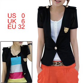 Woman Short Sleeve Shoulder Pads Black Semi Sheer Blazer Coat XS