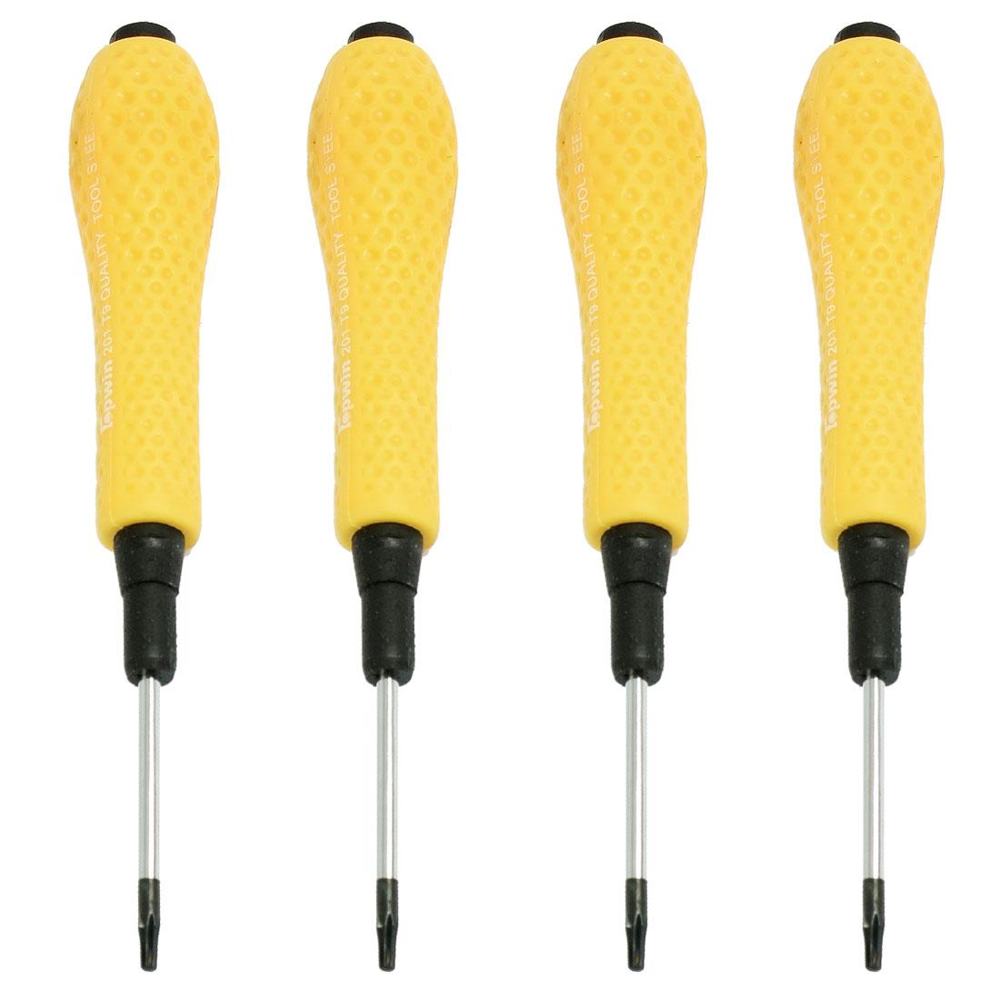 4 Pcs Yellow Plastic Handle T6 T8 T9 T10 Torx Screwdriver Bit