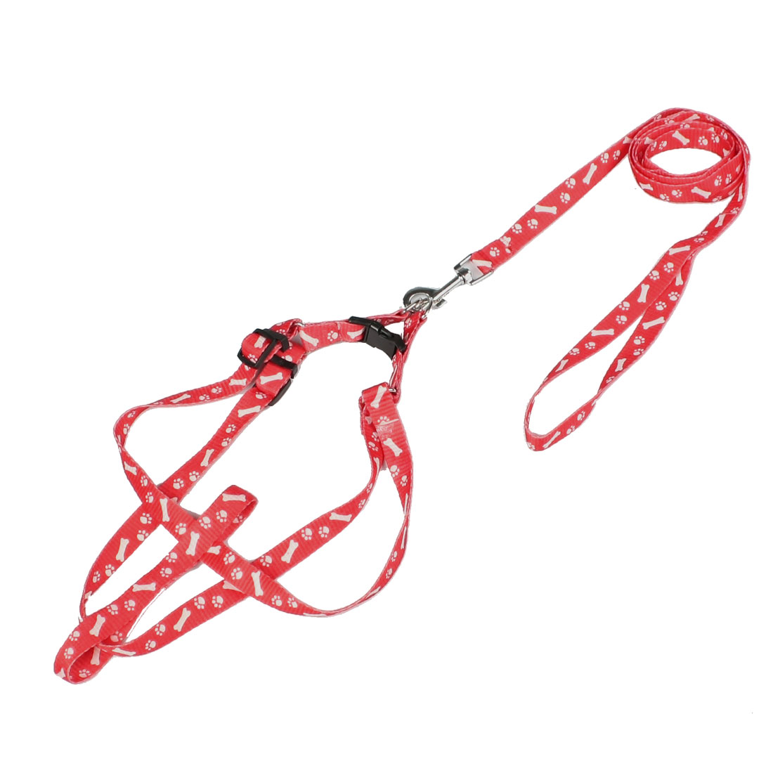 White Bone Paw Printed Red Nylon Medium Size Dog Pet Harness Leash