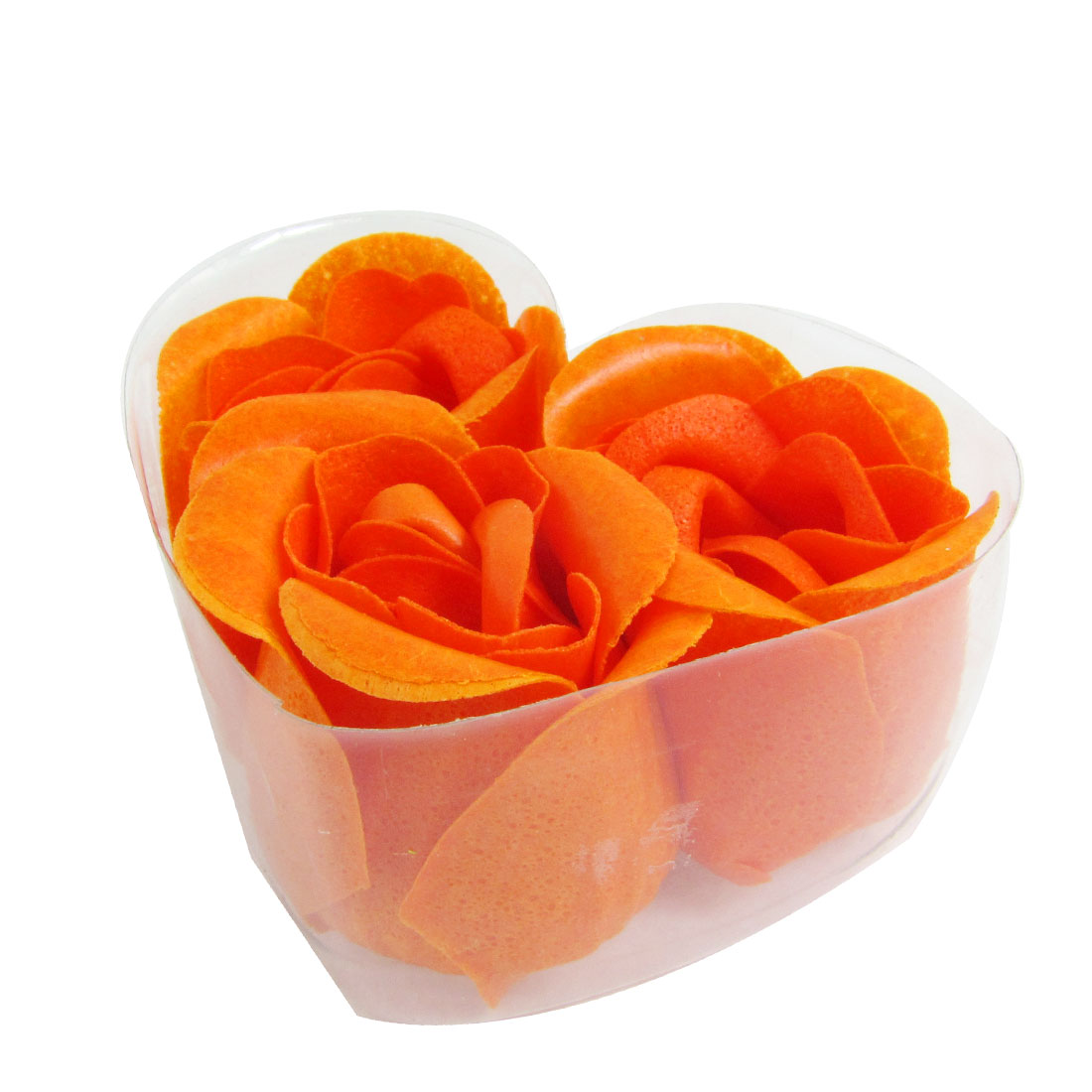 3 Pcs Bowknot Detail Heart Shape Box Bath Soap Flowers Rose Petals Orange