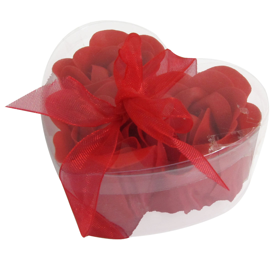 3 Pcs Plastic Heart Shape Box Tub Party Gift Bath Soap Flowers Petals
