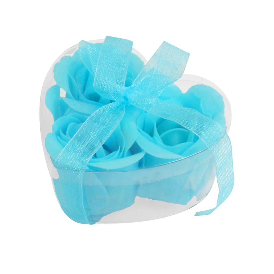 3 Pcs Blue Bowknot Detail Tub Wash Bathing Soap Rose Petals