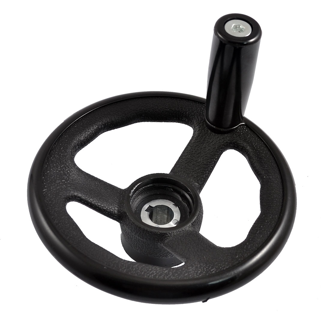 "Black 4.9"" Diameter Milling Machine Hand Wheel w Revolving Handle"