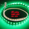 Water Resistant Green SMD 45 LEDs Flexible Light Strip 12V DC