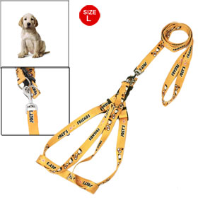 Heart Bone Paw Print Yellow Adjustable Large Size Dog Pet Harness Leash