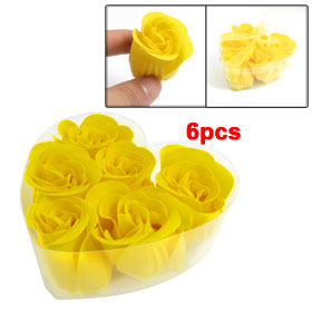 6 Pcs Yellow Bowknot Decor Washing Bath Soap Flowers Petals
