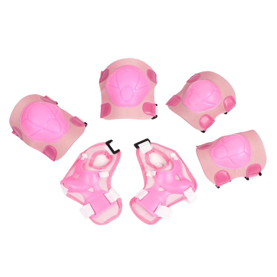 Pink Sports Protective Gear Knee Elbow Wrist Support Pad Set for Children