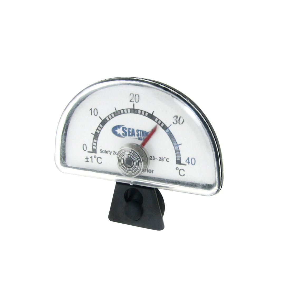 Aquarium Half Round Clear Dial Index Thermometer 0-40 Celsius Black White