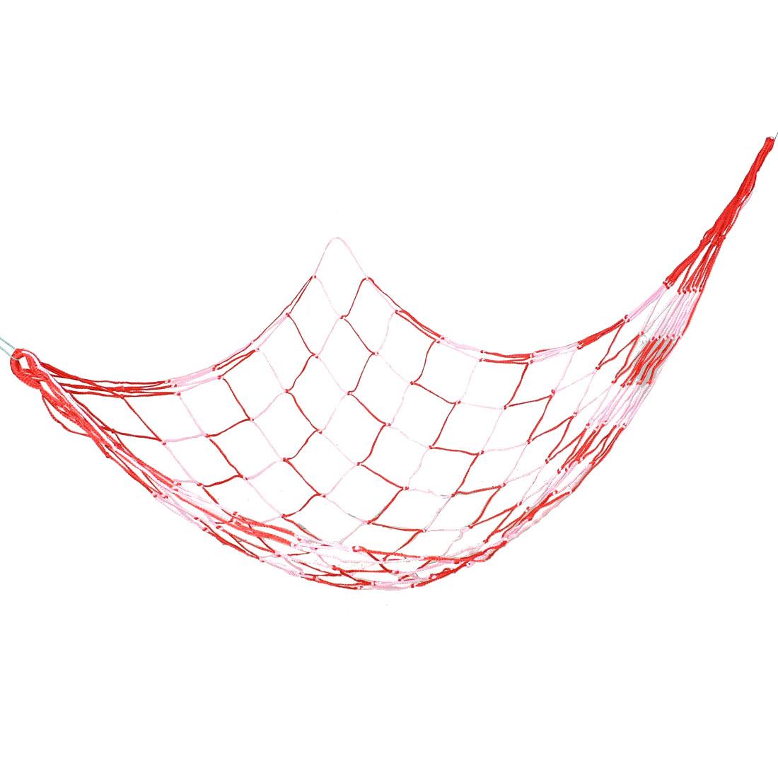 Outdoor Camping 213cm x 96cm Red Pink Nylon Hang Mesh Hammock Sleeping Bed
