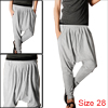 Mens Light Gray Baggy Casual Pants Trousers Harem Stylish W26