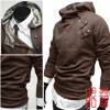 South Korea Mens Stylish Hoodie Coat Sweatshirt Coffee Color S