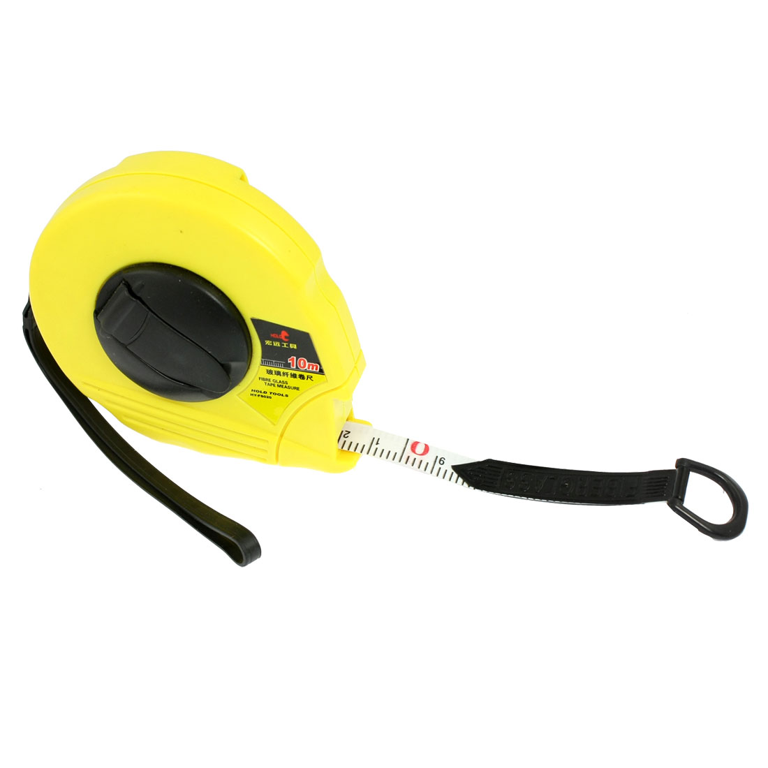 Yellow Shell Metric Retractable Ruler Fiberglass Tape Measure 10M x 12mm