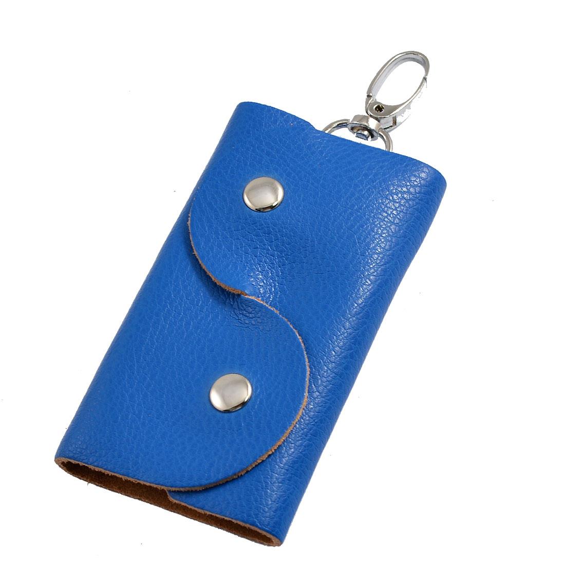 Blue Faux Leather 5 Metal Hooks Folding Key Organizer Holder Bag