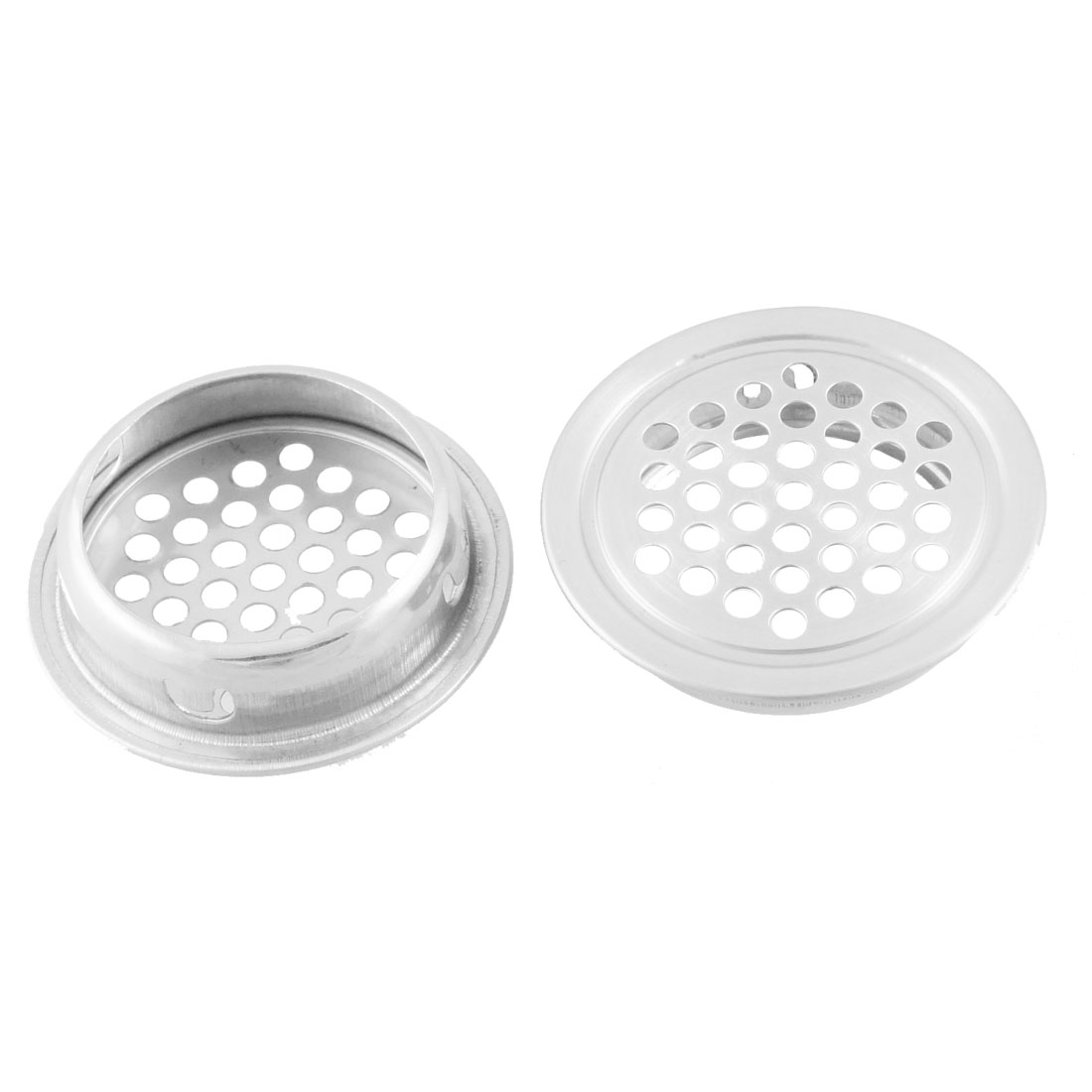 34mm x 42mm Silver Tone Perforated Round Mesh Air Vents Mini Louvers 5 Pcs