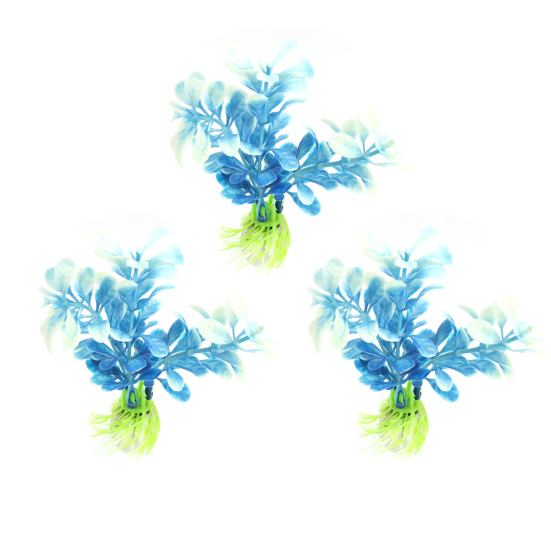 3 Pcs Aquarium Tank Blue White Plastic Artificial Grass Plant 4.3""