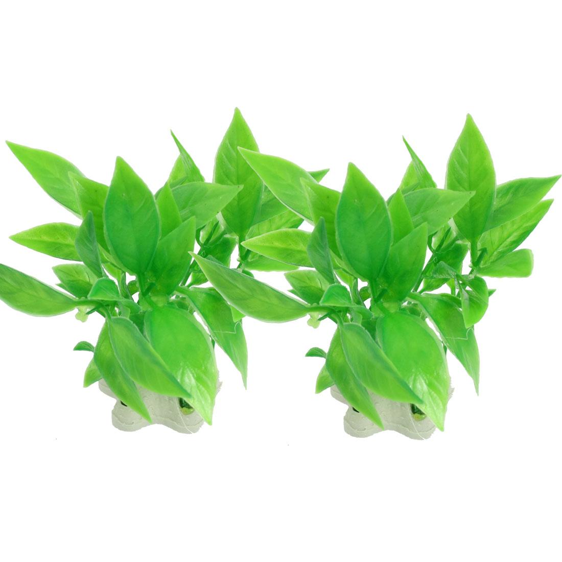 """2 Pcs Aquarium Green Plastic Artificial Grass Plant Decor 3.5"""" Height"""