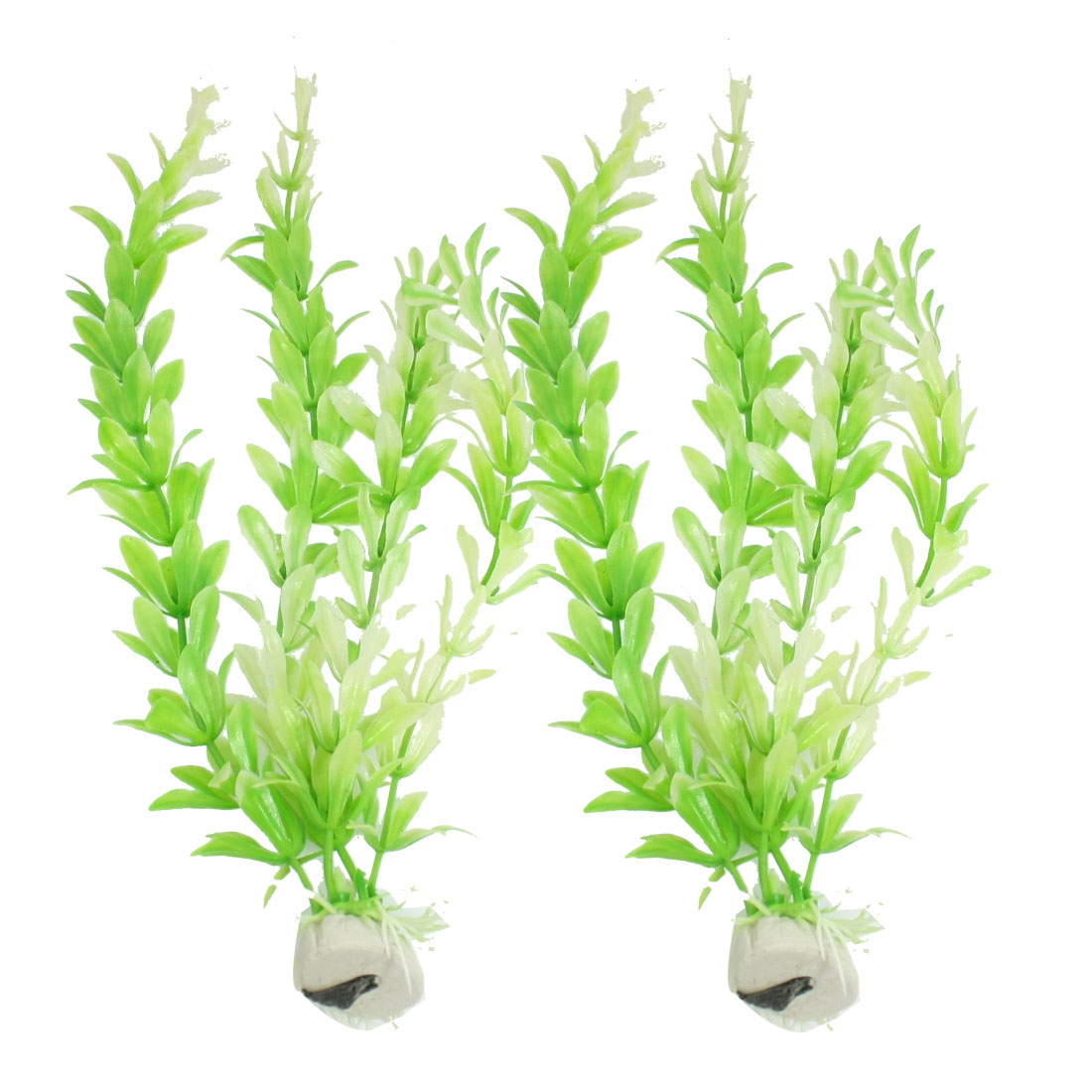 2 Pcs Aquarium Tank Green White Plastic Artificial Grass Plant 10.6""