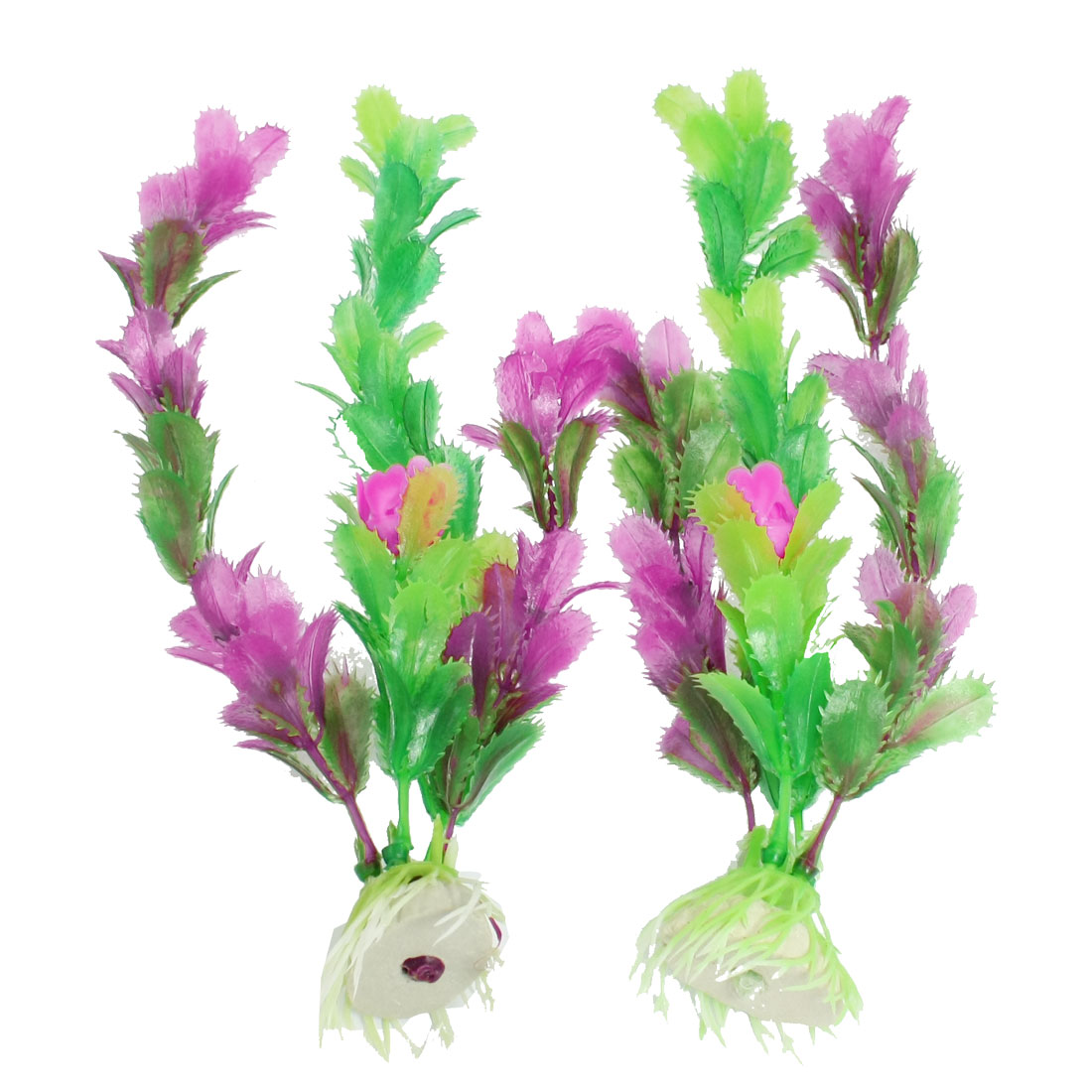 2 Pcs Aquarium Fish Tank Aquatic Grass Plant Fuchsia Green 7.1""