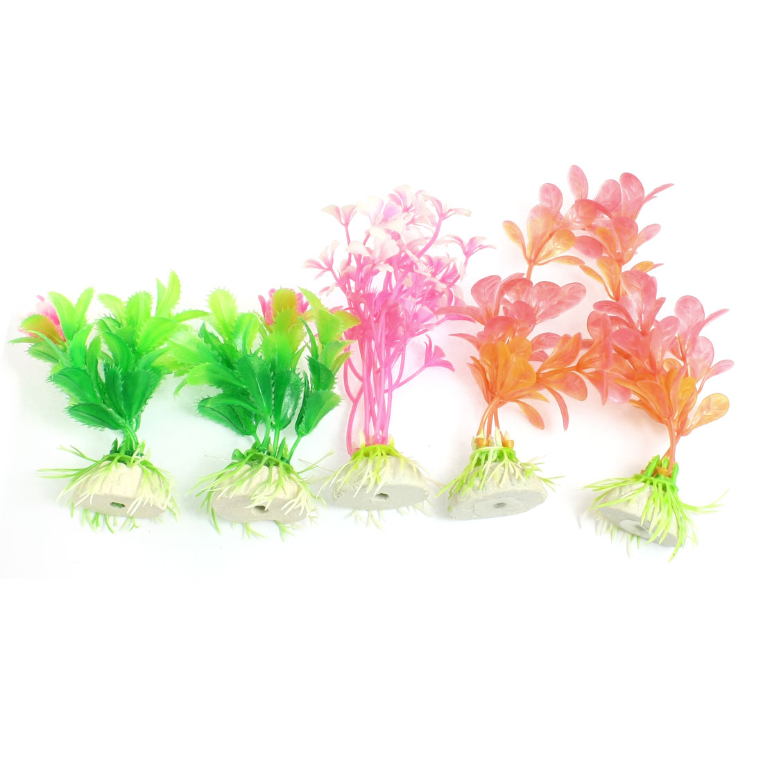 5 Pcs Aquarium Fish Tank Aquatic Grass Plant Colorful 5.1""
