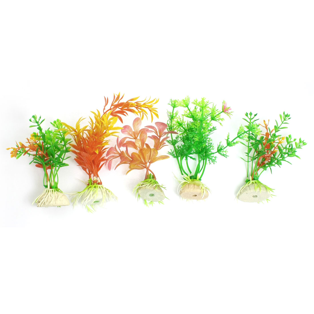 "5 Pcs Multicolor Plastic Grass Plant Decor 4.3"" for Aquarium Tank"