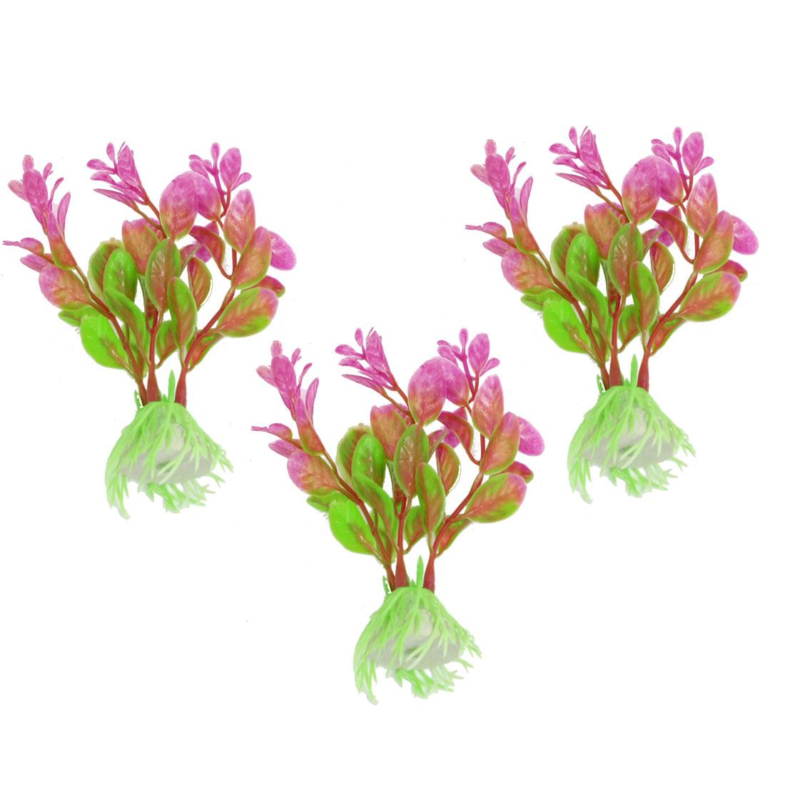 """3 Pcs Aquarium Tank Fuchsia Green Plastic Artificial Grass Plant 4.3"""""""