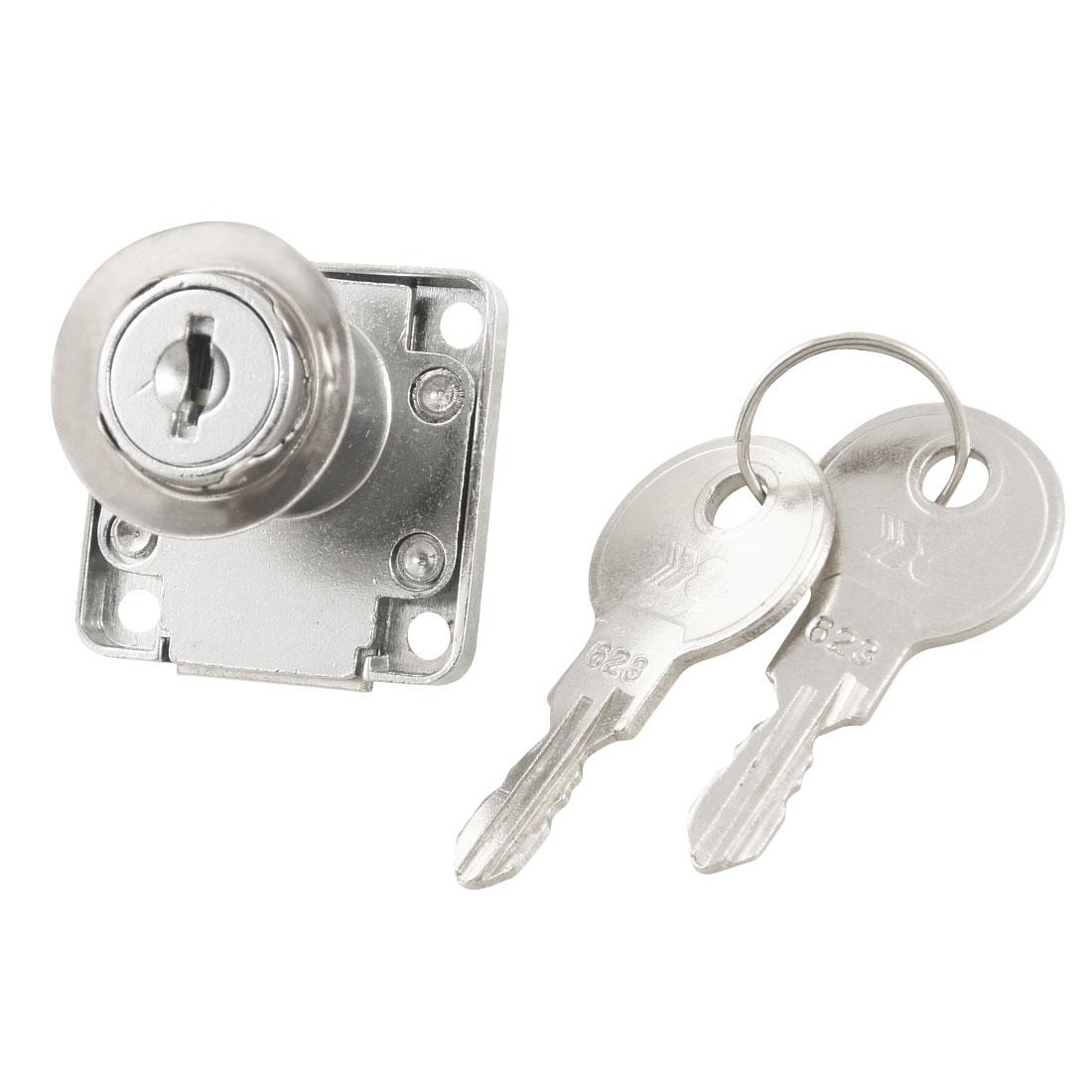 Sliver Tone Security Hardware Metal Deadbolt Drawer Locker Lock w Keys