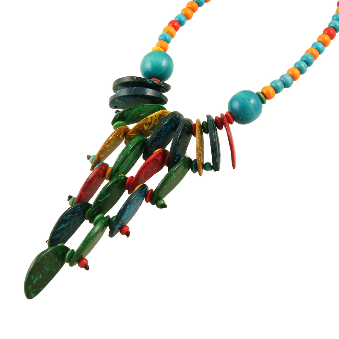 Colorful Wooden Charm Beads String Long Necklace for Ladies