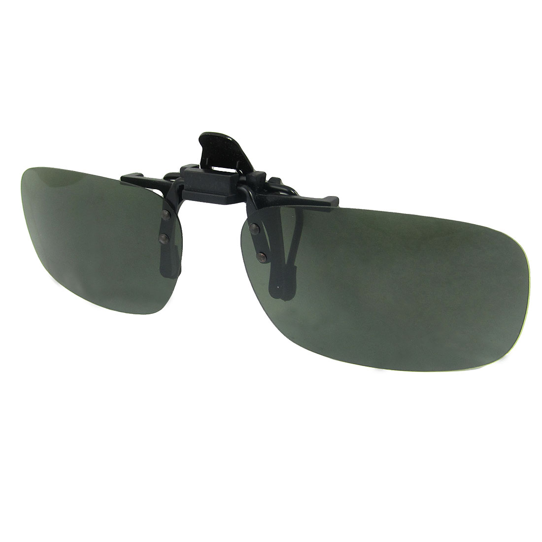 Women Men Atrovirens Lens Flip Up Sports Clip On Polarized Sunglasses 5.7 x 3.6cm