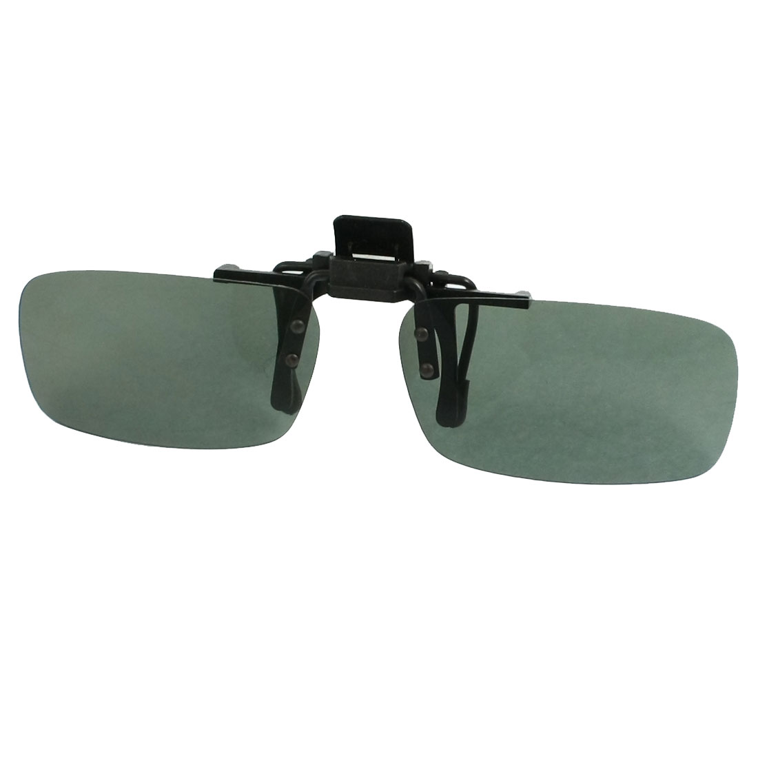 Unisex Green Rectangle Flip Up Sports Clip On Polarized Sunglass