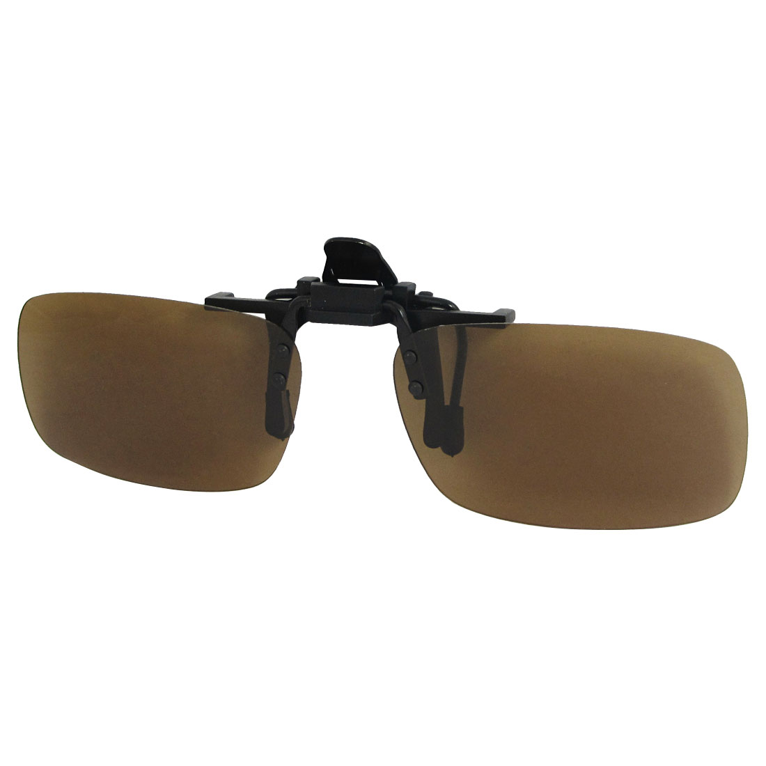 Women Men Brown Rectangle Lens Flip Up Fishing Clip On Polarized Sunglasses