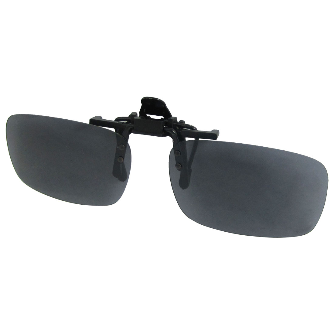 Unisex Gray Rectagnle Flip Up Sports Clip On Polarized Sunglasse