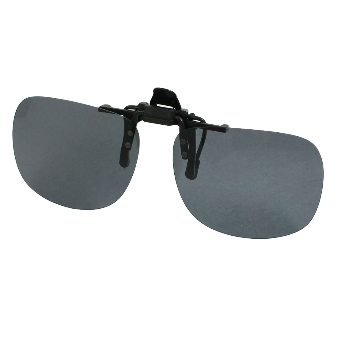 Unisex Gray Square Lens Flip Up Sports Clip On Polarized Sunglasses