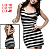 Ladies Black White Bar Stripe U Neck Mini Tank Dress M