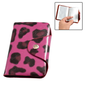 Fuchsia Faux Leather Leopard Pattern Bank Credit Card Pocket Case Holder