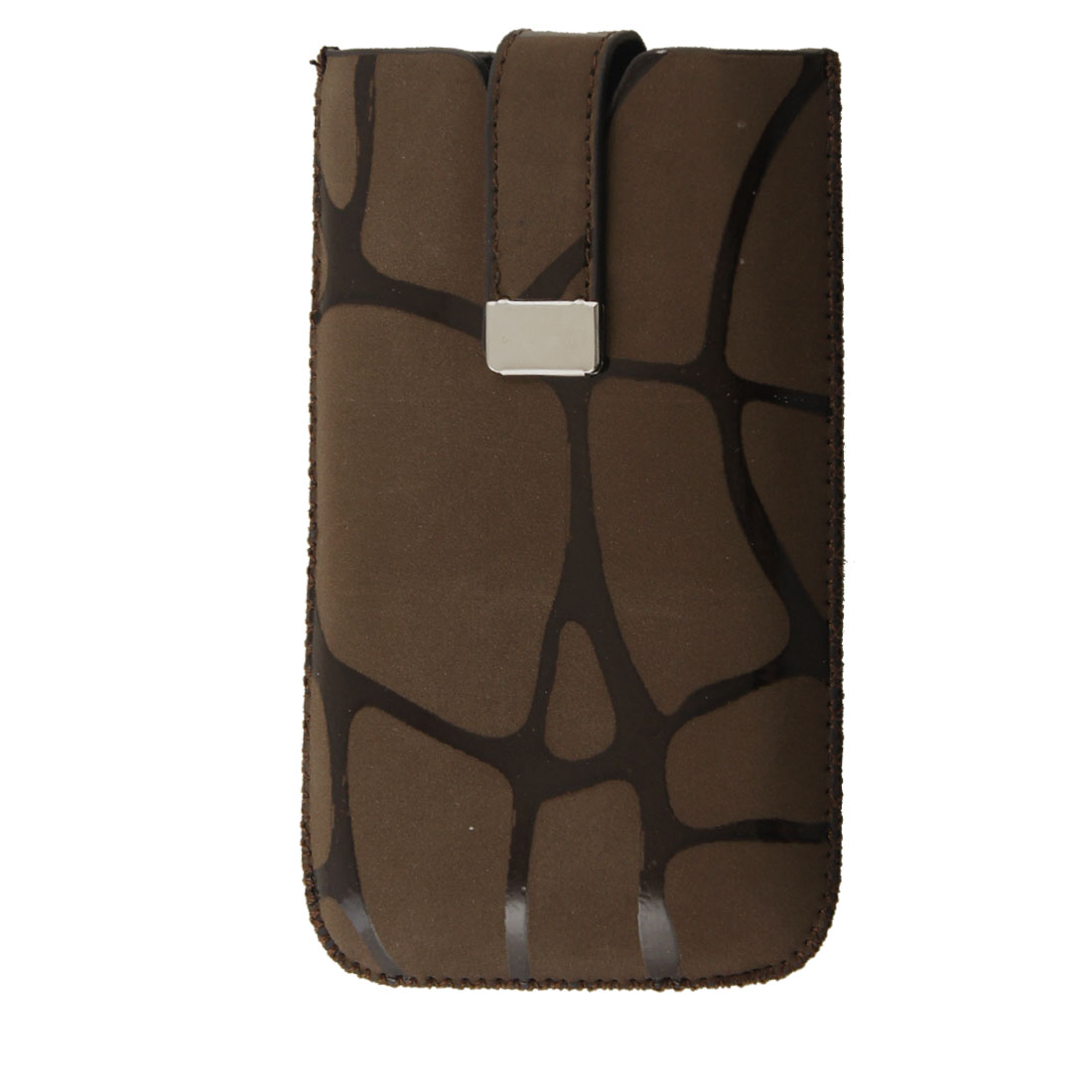 Brown Faux Leather Giraffe Pattern Pouch for Apple iPhone 4 4G 4S