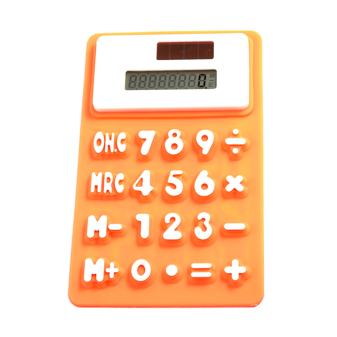 Orange White Silicone Magnetic Fridge Sticker 8 Digits Calculator