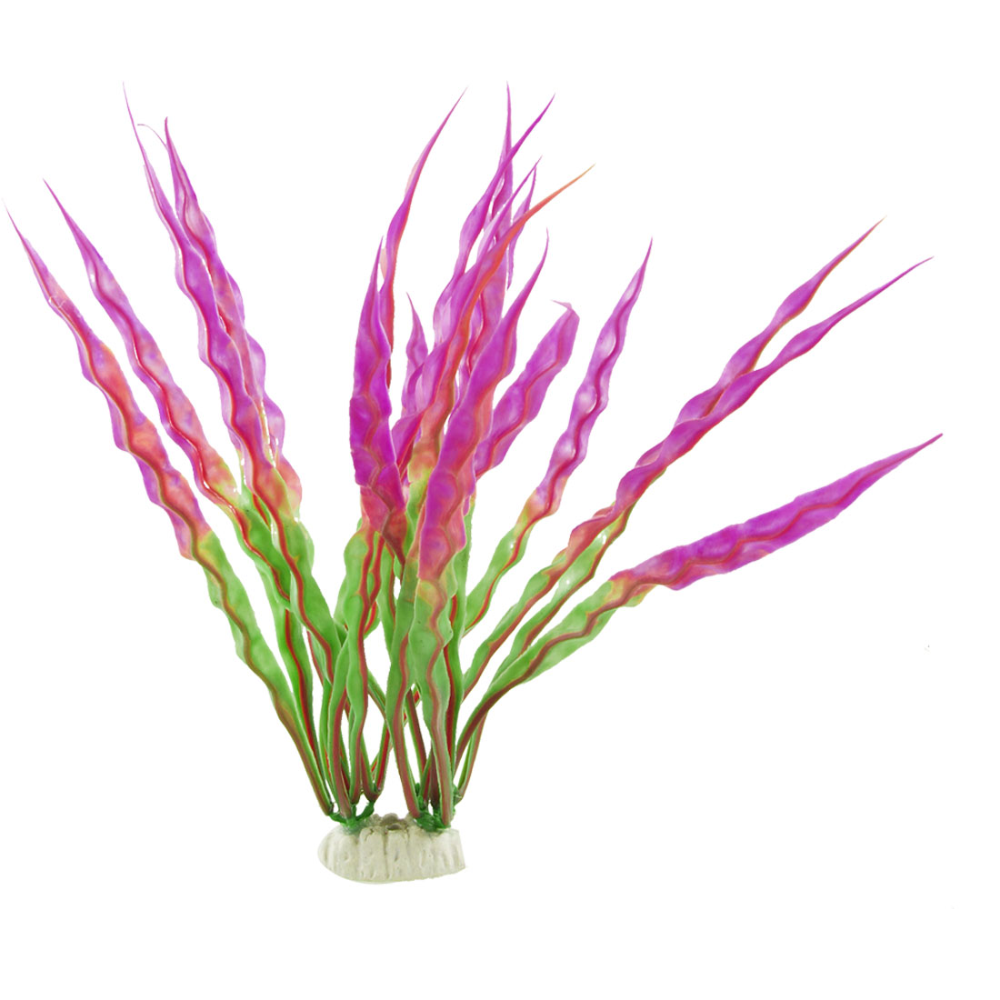 "Aquarium Purple Green 11.4"" Height Plastic Grass Plant Decor"