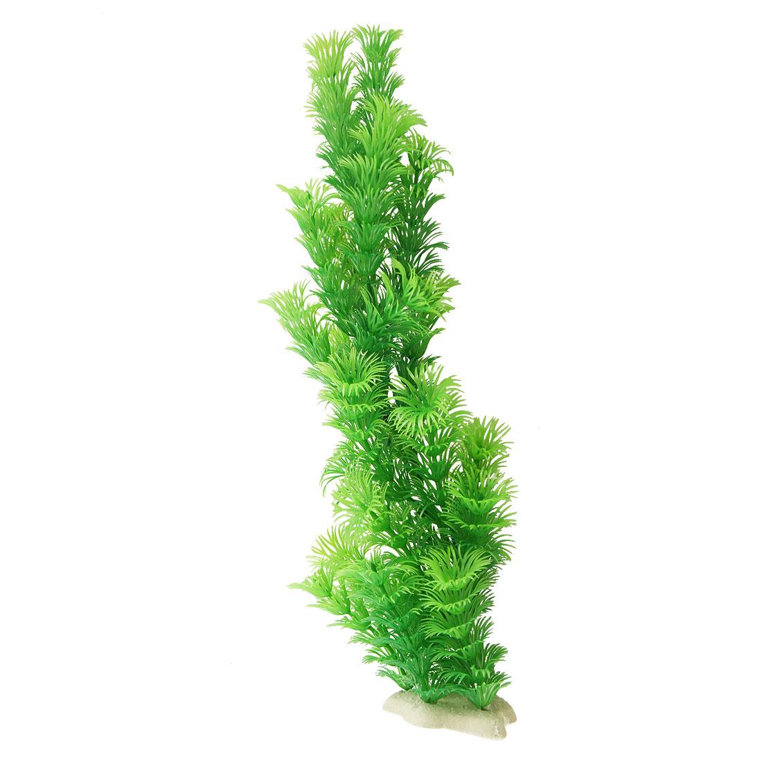 "Aquarium Green Plastic Artificial Grass Plant 12.2"" Height"
