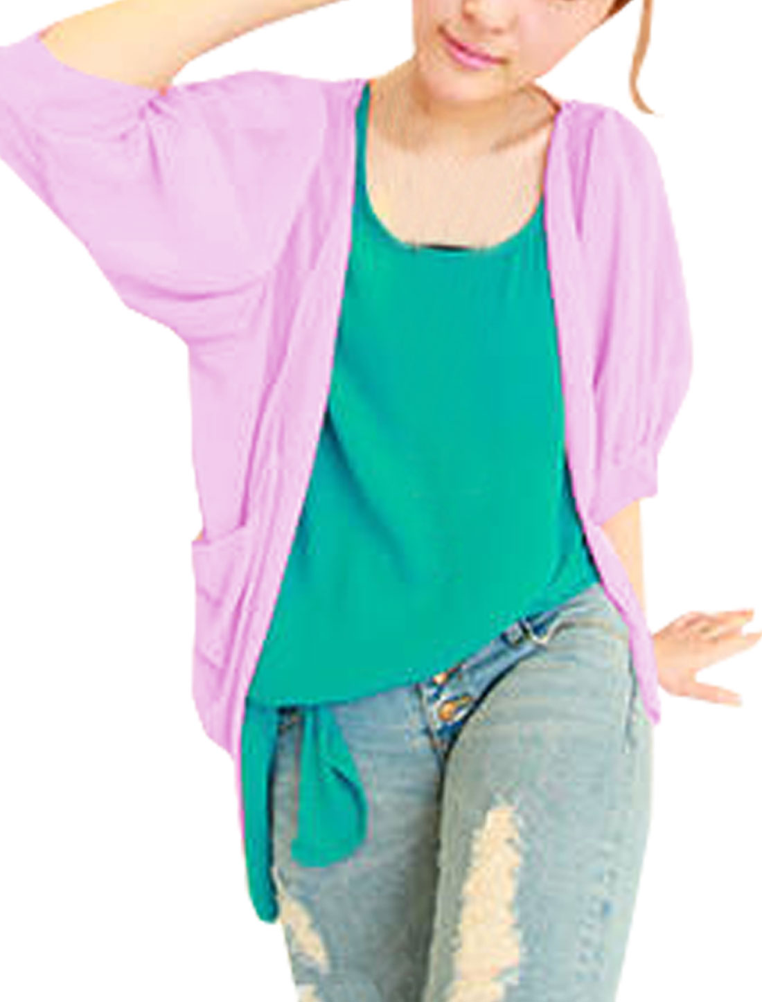Ladies Orchid Color Dipped Hem Short Sleeve Semi Sheer Summer Blazer S