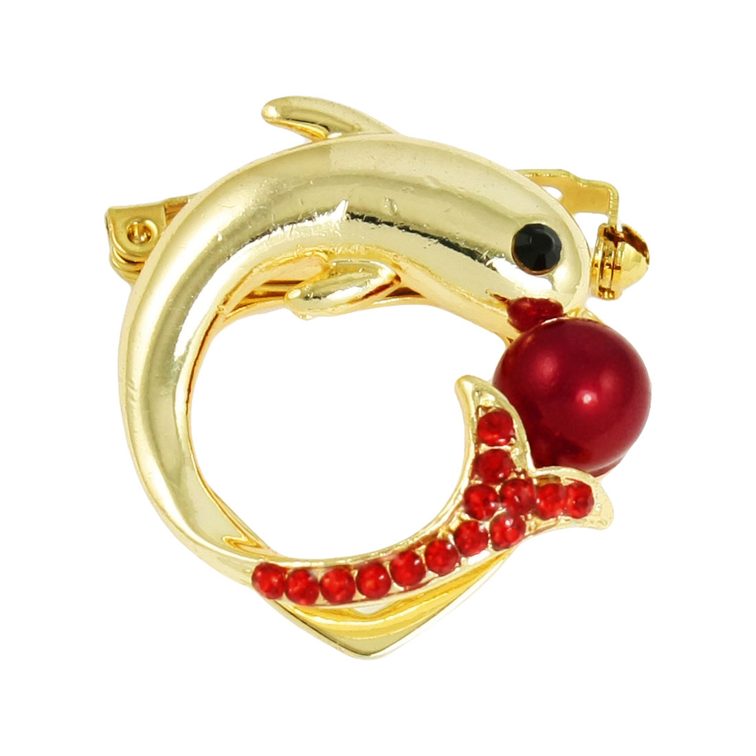 Gold Tone Red Dolphin Style Plastic Bead Decor Pin Brooch for Lady