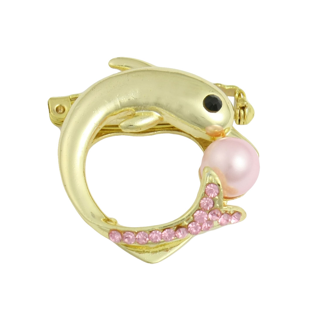 Gold Tone Pink Metal Dolphin Plastic Bead Decor Pin Brooch for Lady
