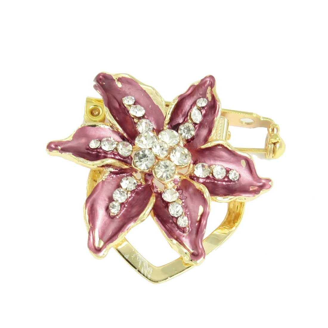 Burgundy Gold Tone Metal Flower Style Rhinestone Inlaid Pin Brooch