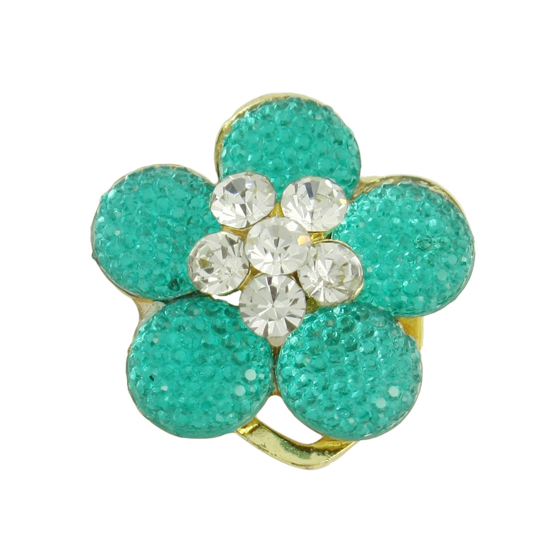 Green Gold Tone Metal Flower Shape Plastic Rhinestone Inlaid Pin Brooch