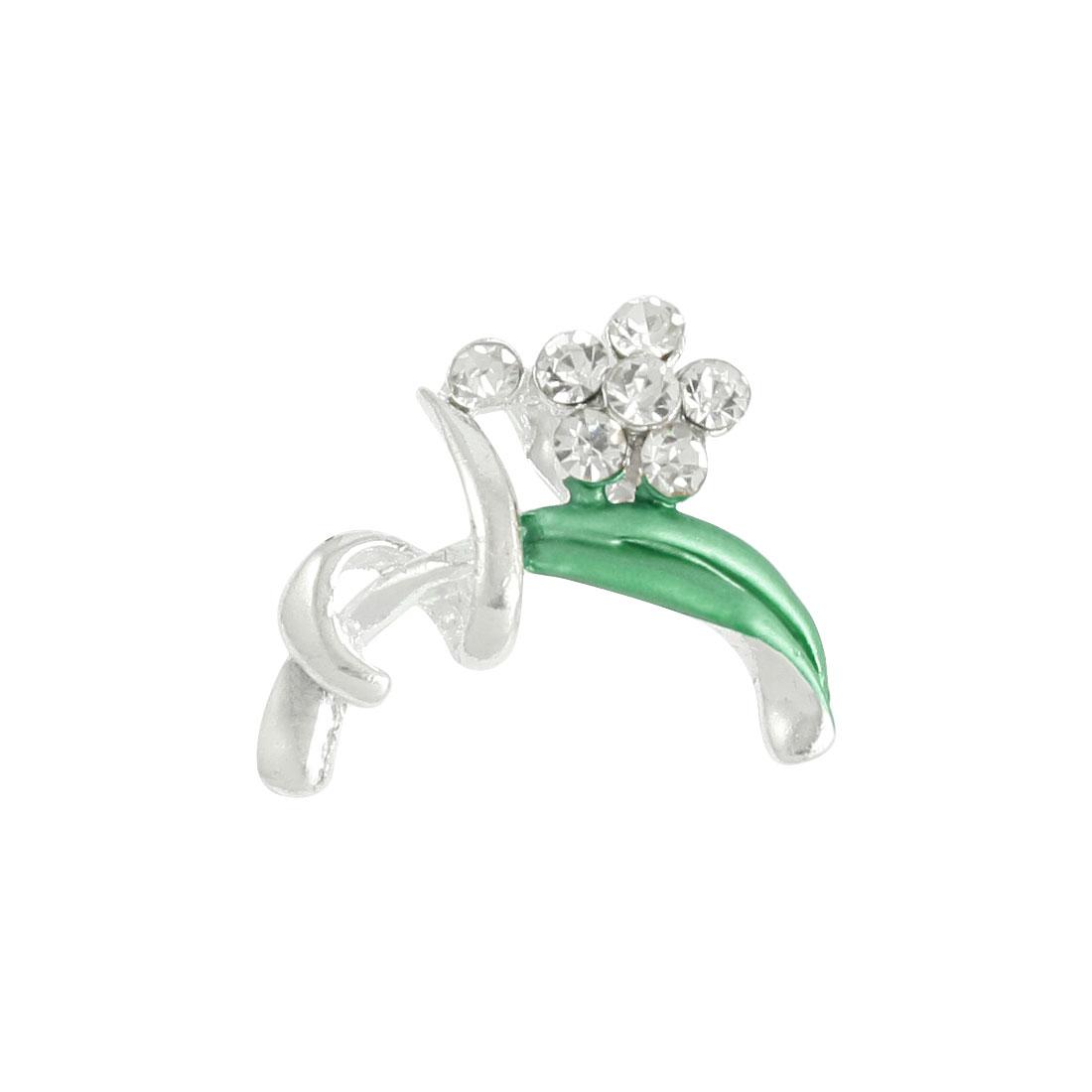 Silver Tone Green Floral Rhinestone Inlaid Pin Brooch Breastpin Ornament