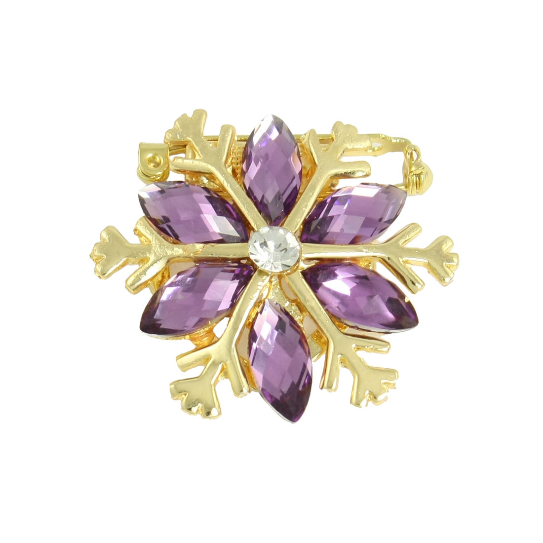 Lady Purple Glitter Rhinestone Gold Tone Metal Floral Pin Brooch