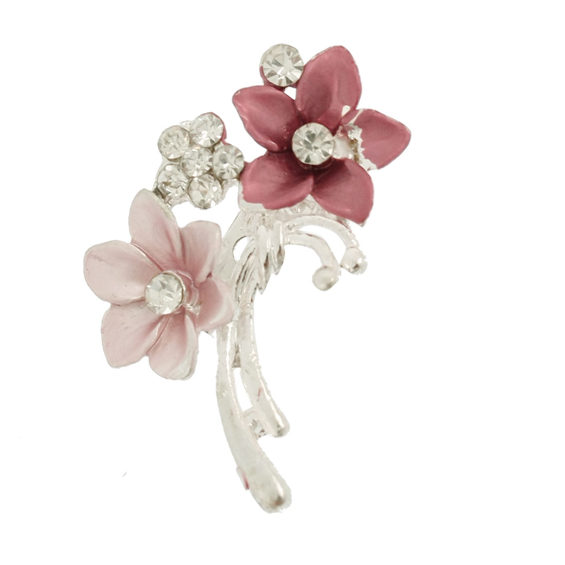Lady Pink Burgundy Double Flower Glitter Rhinestone Cluster Pin Brooch