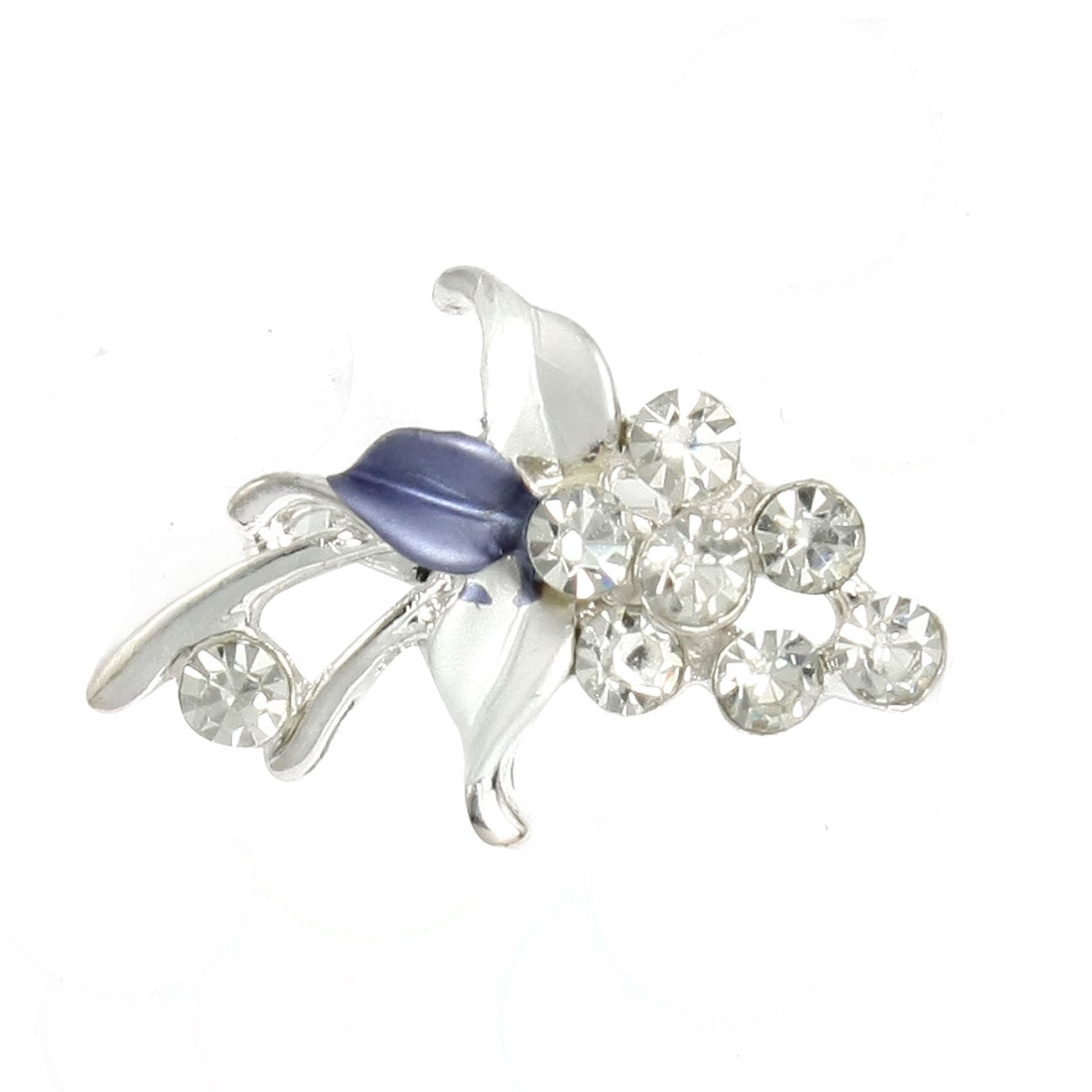 White Blue Leaf Rhinestone Accent Bridal Party Grape Brooch Pin Corsage