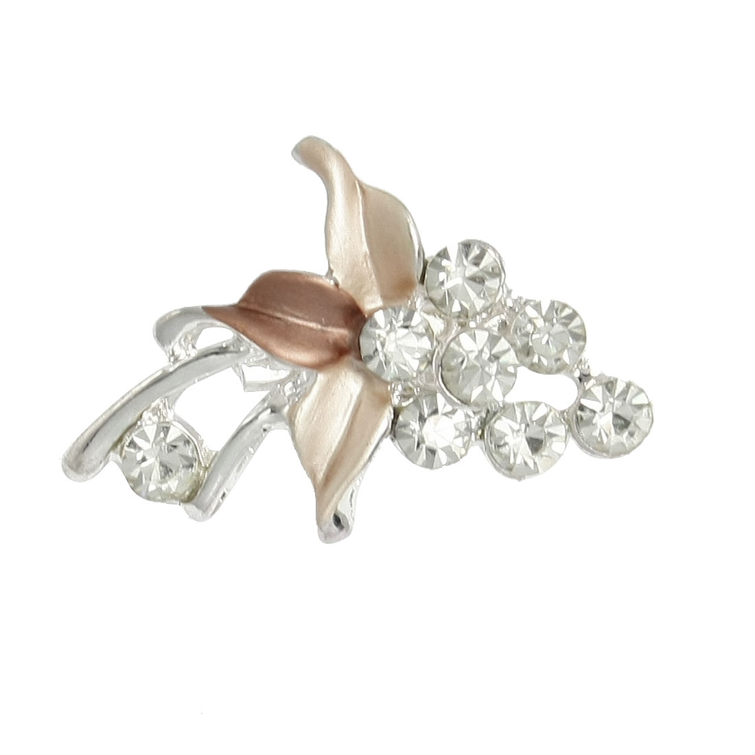 Wedding Bridal Party Shiny Rhinestone Accent Grape Shaft Brooch Pin