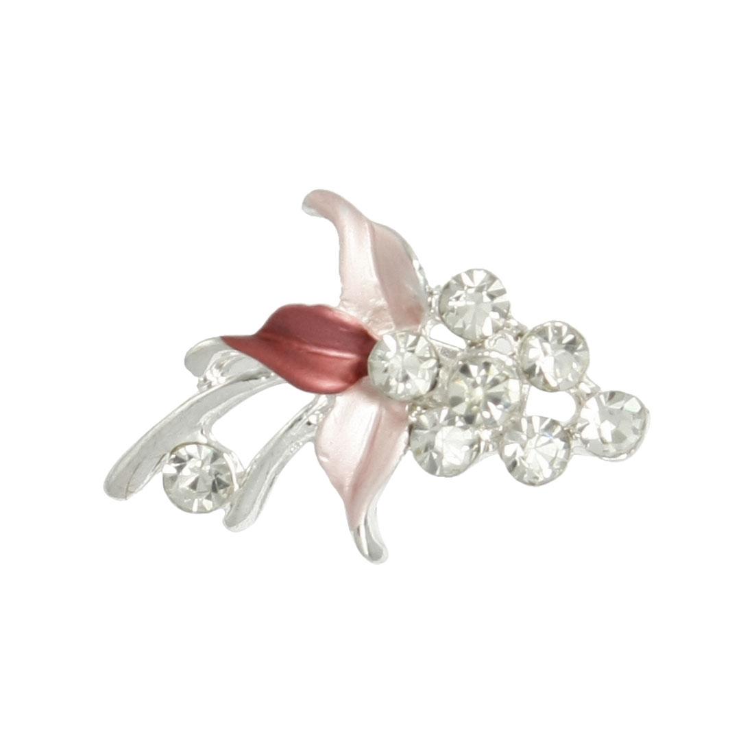 Women Apparel Decoration Pink Leaf Rhinestone Accent Grape Brooch Pin